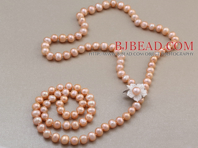 Fashion Long Style 8-9mm Natural Pink Freshwater Pearl Beads Necklace With Shell Flower Magnetic Clasp