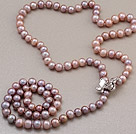 Fashion Long Style 8-9mm Natural Purple Freshwater Pearl Beads Necklace With Shell Flower Magnetic Clasp