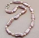 Beautiful Single Strand Natural Purple Blister Pearl Knotted Necklace With Charming Clasp