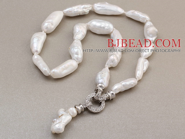 Fashion Natural White Irregular Blister Pearl Knotted Pendant Charm Necklace