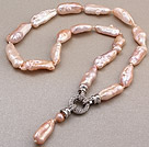 Fashion Natural Pink Irregular Blister Pearl Knotted Pendant Charm Necklace