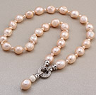 Fashion Natural Pink Baroque Freshwater Pearl Knotted Charm Pendant Necklace