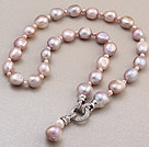 Fashion Natural Purple Baroque Freshwater Pearl Knotted Charm Pendant Necklace