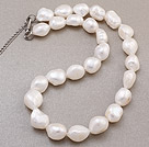 Beautiful Single Strand Natural White Baroque Pearl Knotted Necklace With S Clasp