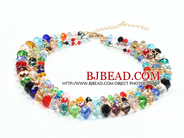 2015 Summer Style Multi Layer Multi Color Crystal Beads Party Necklace
