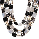 Fashion Three Strands Square Shape Multi Color Crystal Beads Necklace With Magnetic Clasp