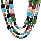 Fashion Three Strands Square Shape Multi Colorful Crystal Beads Necklace With Magnetic Clasp