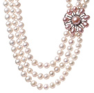 Fashion Three Strands Natural 7-8mm White Freshwater Pearl Necklace With Pink Pearl Rhinestone Flower Charm