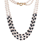 Fashion Multi Strands Natural 7-8mm Black And White Freshwater Pearl Necklace With Gold Moonight Clasp