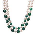 Fashion Double Strands Natural White Freshwater Pearl And Faceted Round Green Agate Knotted Beads Necklace