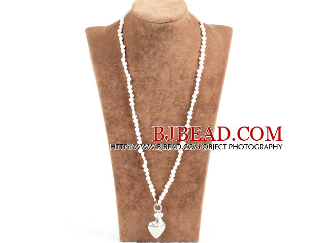 Elegant Simple Natural White Freshwater Pearl Alloyed Heart Pendant Necklace