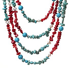 Fashion 4 Strands Multi Pearl Turquoise And Coral String Necklace With Magnetic Clasp