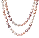 Beautiful Long Design 6-7mm Natural White Pink And Purple Beads Necklace, Sweater Necklace (No Box)