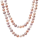 Beautiful Long Design 7-8mm Natural White Pink And Purple Beads Necklace, Sweater Necklace (No Box)