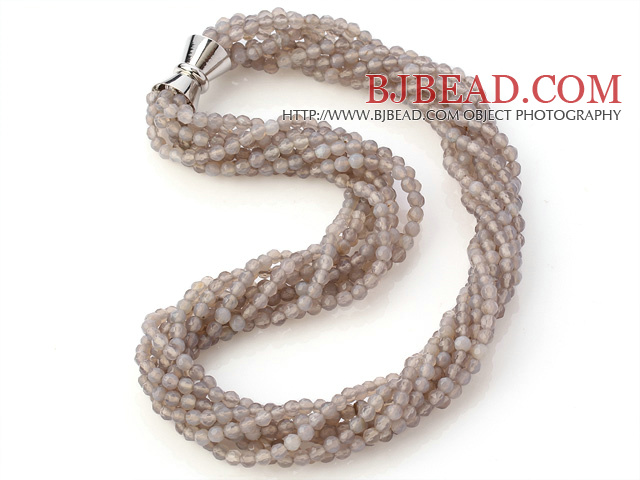 Nice Multi Twisted Strands 4mm Faceted Grey Agate Beads Necklace With Magnetic Clasp