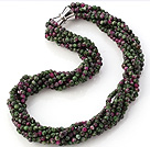 Fashion Multi Twisted Strands 4mm Faceted Zoisite Stone Beads Necklace With Magnetic Clasp under $ 40