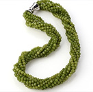 Nice Multi Twisted Strands 4mm Faceted Round Green Jade Beads Necklace With Magnetic Clasp