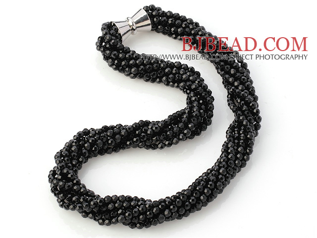 Fashion Multi Twisted Strands 4mm A Grade Faceted Black Agate Beads Necklace With Magnetic Clasp