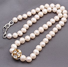 Fashion Single Strand Natural White Freshwater Pearl Beaded Necklace With Gold Rhinestone Charm