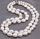 Popular Double Strands Big Baroque Freshwater Pearl Beads Necklace With Magnetic Clasp