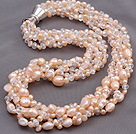 Fashion Multi Twisted Strands Pink Freshwater Pearl And White Crystal Necklace With Moonight Clasp