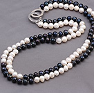 Fashion Double Strands 7-8mm Black And White Beads Necklace With Double Ring Clasp