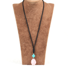 Simple Fashion Turquoise Cross Charm Irregular Shape Rose Quartz Pendant Necklace