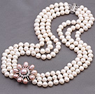 Elegant Multi Strands 7-8mm Natural White Freshwater Pearl Beads Necklace With Pink Pearl Rhinestone Flower Charm