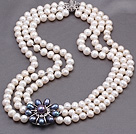 Elegant Multi Strands 7-8mm Natural White Freshwater Pearl Beads Necklace With Black Pearl Rhinestone Flower Charm