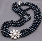 Elegant Multi Strands 7-8mm Natural Black Freshwater Pearl Beads Necklace With White Pearl Rhinestone Flower Charm