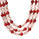 Popular Three Strands White Freshwater Pearl And Faceted Red Agate Cherry Quartz Beads Necklace