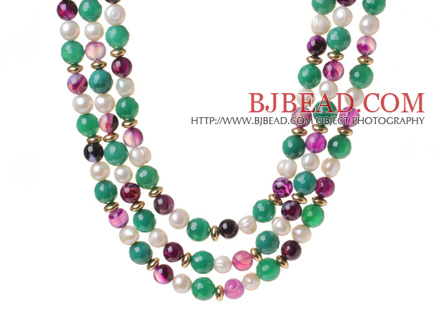 Fashion Three Strands White Freshwater Pearl And Round Green Purple Agate Beads Necklace
