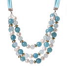 Elegant Three-Layer White Freshwater Pearl And Sponge Aquamarine Necklace With Green Suede Cords