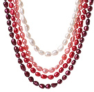 Fashion Multi Strands Mixed Red And White Baroque Freshwater Pearl And White Crystal Beads Necklace