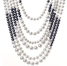 Fashion Multi Strands Mixed Size Round White And Black Glass Pearls Knotted Necklace With Magnetic Clasp