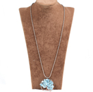 Fashion Wired Crochet Multilayer Champagne Crystal And Blue Shell White Pearl Flower Necklace