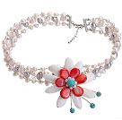 Fashion Wired Crochet Multilayer Multi Color Freshwater Pearl And White Red Shell Flower And Turquoise Necklace