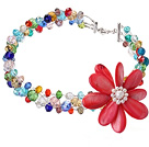 Fashion Wired Crochet Multilayer Colorful Crystal And Red Shell White Pearl Flower Necklace
