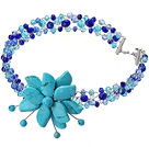 Fashion Wired Crochet Multilayer Blue Series Crystal And Turquoise Flower Party Necklace