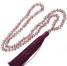 Lovely 8mm Manmade Purple Crystal Strand Necklace With Purple Threaded Tassel Pendant