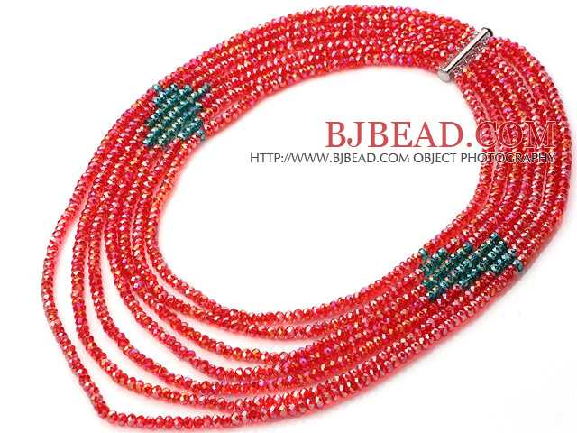 Fashion Multi Strands 5*6mm Faceted Manmade Red And Green Crystal Beads Necklace With Magnetic Clasp