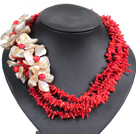 Fantastic Beautiful Multi Strand Twisted Red Coral Chips Natural Shell Flower African Wedding Necklace