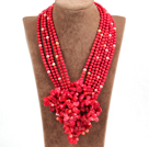 Splendid Statement Multi Strand Red Coral Beads Flower African Wedding Necklace