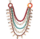 Fashion Multilayer Round Red Coral Blue Turquoise And Smoky Quartz Loop Chain Link Necklace under $ 40