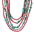 Fashion Multi Strands Green Turquoise And Round Red Coral Necklace With Magnetic Clasp under $ 40
