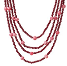 Nice Multi Strands Rose Jade Crystal And Round Rhodochrosite Necklace With Magnetic Clasp