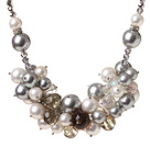 Fashion Cluster White And Gray Seashell Pearl And Colorful Manmade Crystal Strand Necklace