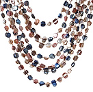 Popular Multilayer Multi Mixed Colorful Shell Necklace With Hollow Ring Closure under $ 40