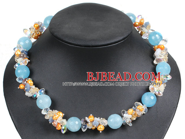 Hot Sale Gorgeous Round Cyanite Beads Cluster Yellow Pearl Clear Crystal Choker Necklace