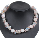 Hot Sale Gorgeous Round Rose Quartz Beads Cluster Blue Pearl Pink Crystal Choker Necklace